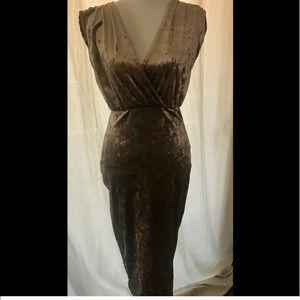 Boohoo vintage gold crushed stretch velvet dress 8